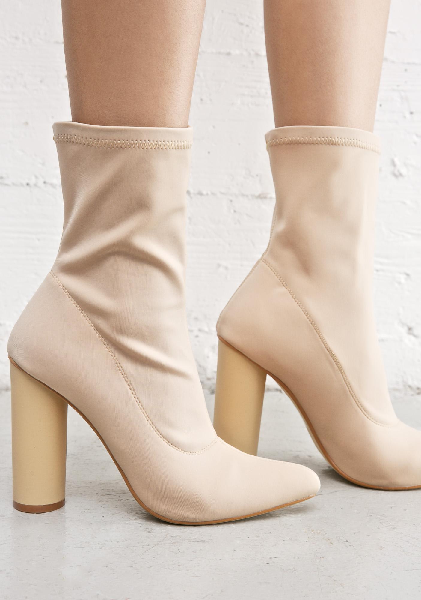 Nude Block Heel Boot