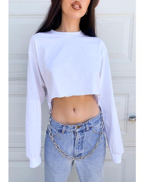 White Long Sleeve Chain Crop Top