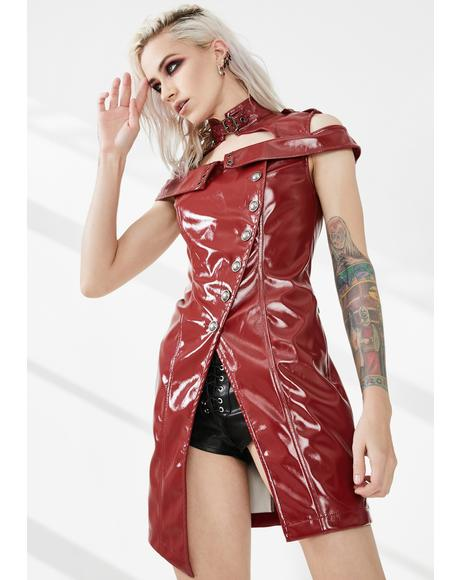 Red Punk Flaming Patent Leather Dress