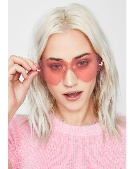 Pretty Full Heart Oversized Sunglasses