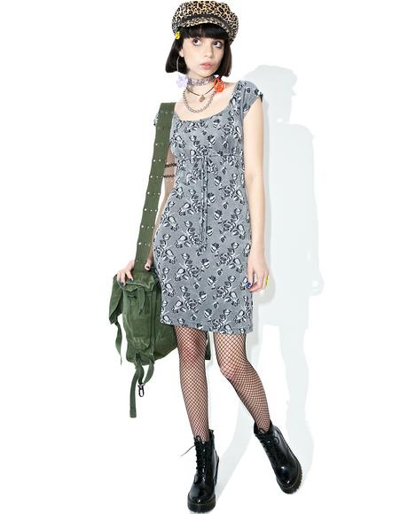 Vintage 90s Slinky Grey Floral Dress