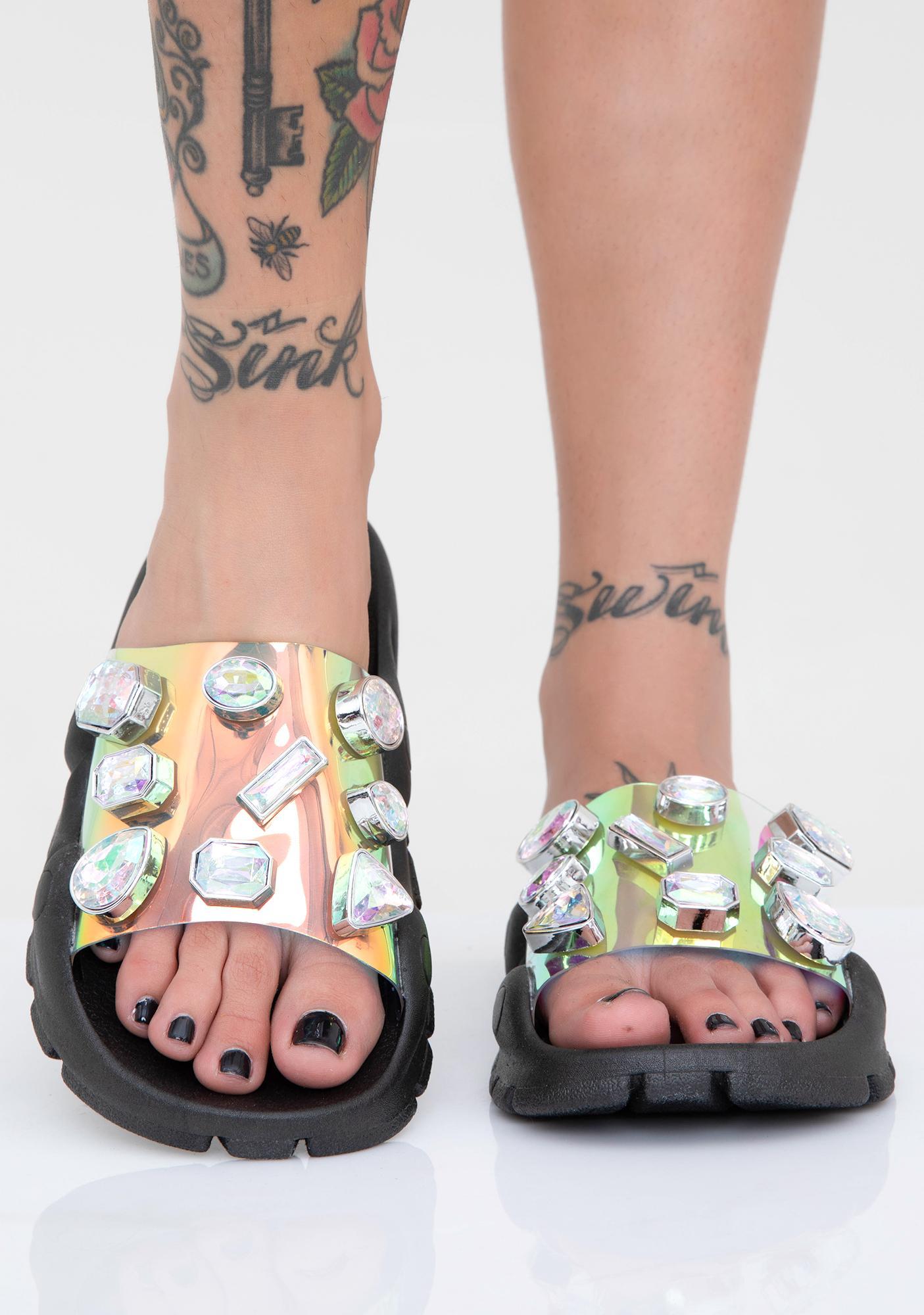 Onyx Cosmic Freak Jeweled Slides