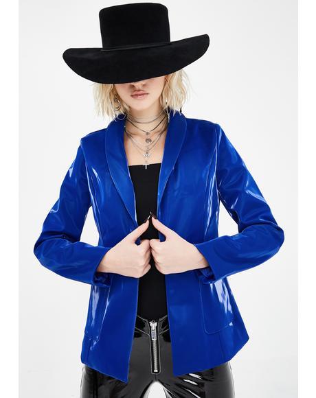 Blue Linda Liquid Velvet Vinyl Blazer