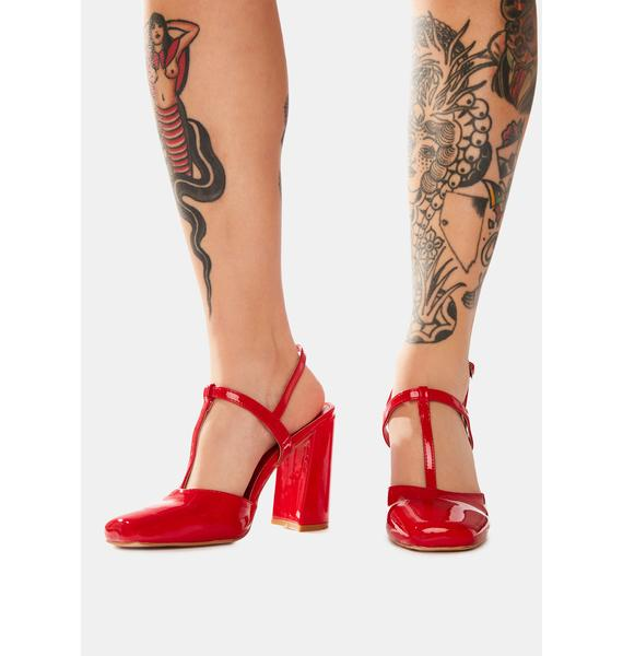 Public Desire Red Romy Closed Toe Heels