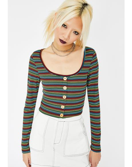Rainbow Brite Crop Top