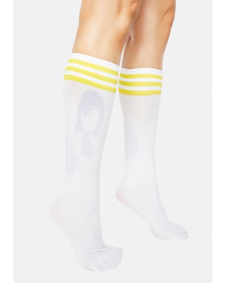 Yellow Sporty Sass Stripe Knee High Socks