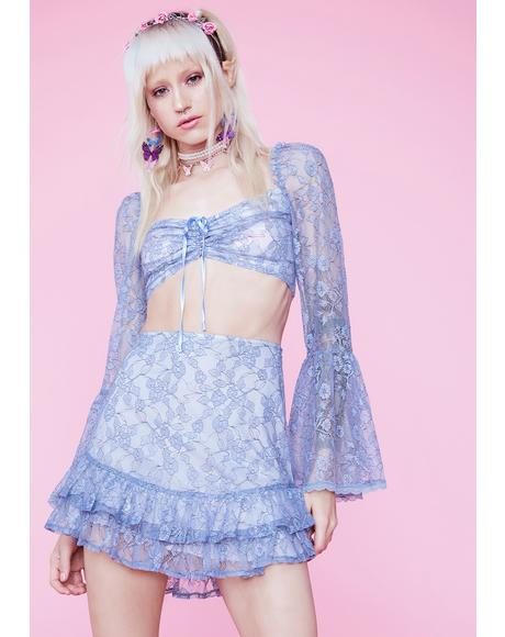 We Are Stardust Floral Lace Mini Skirt