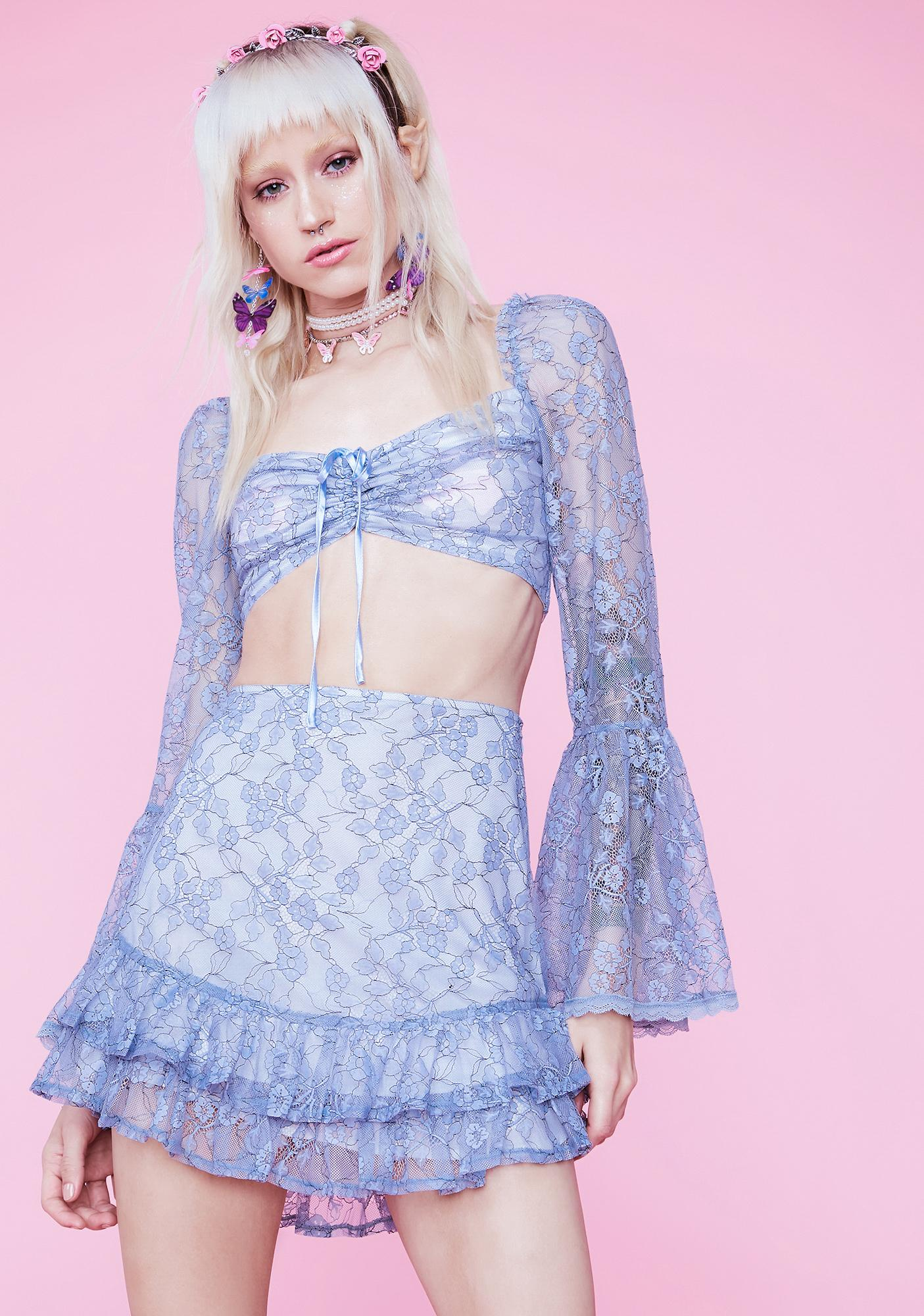Sugar Thrillz We Are Stardust Floral Lace Mini Skirt