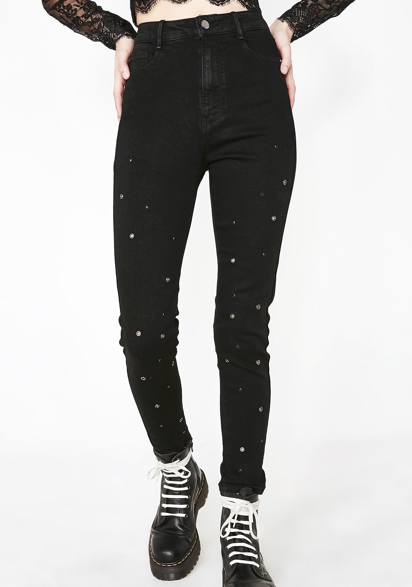 61862be1f41 Black Grommet Skinny Jeans | Dolls Kill