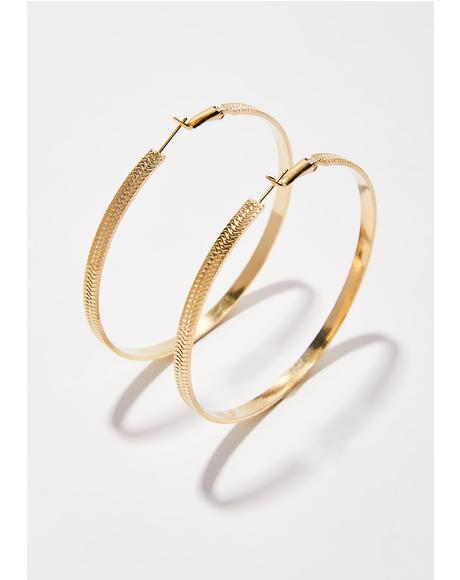 Down AF Textured Hoop Earrings