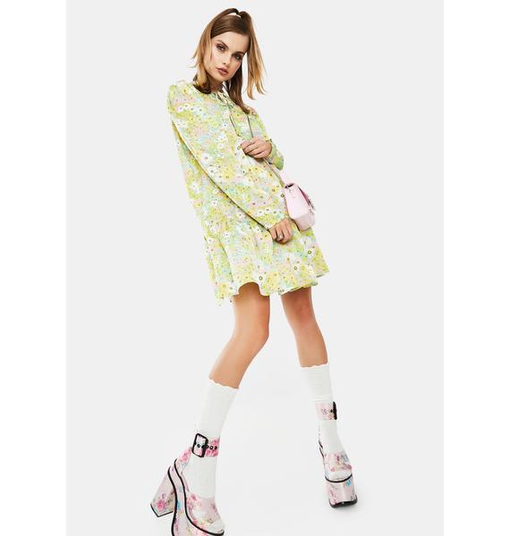 Glamorous Green Floral Babydoll Dress