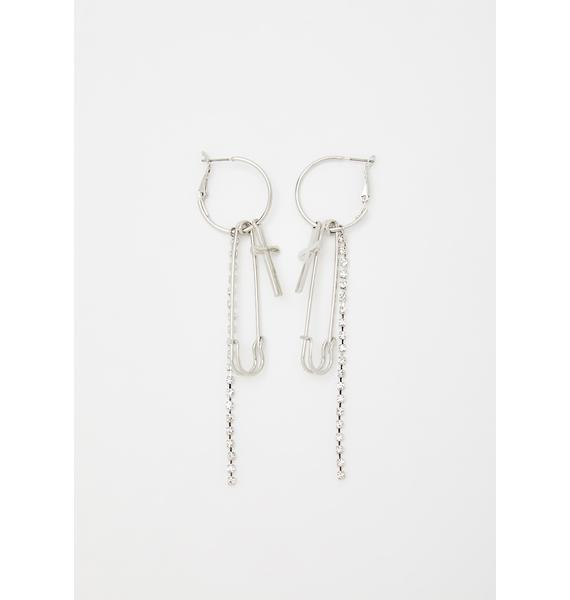 Bite The Dust Safety Pin Earrings