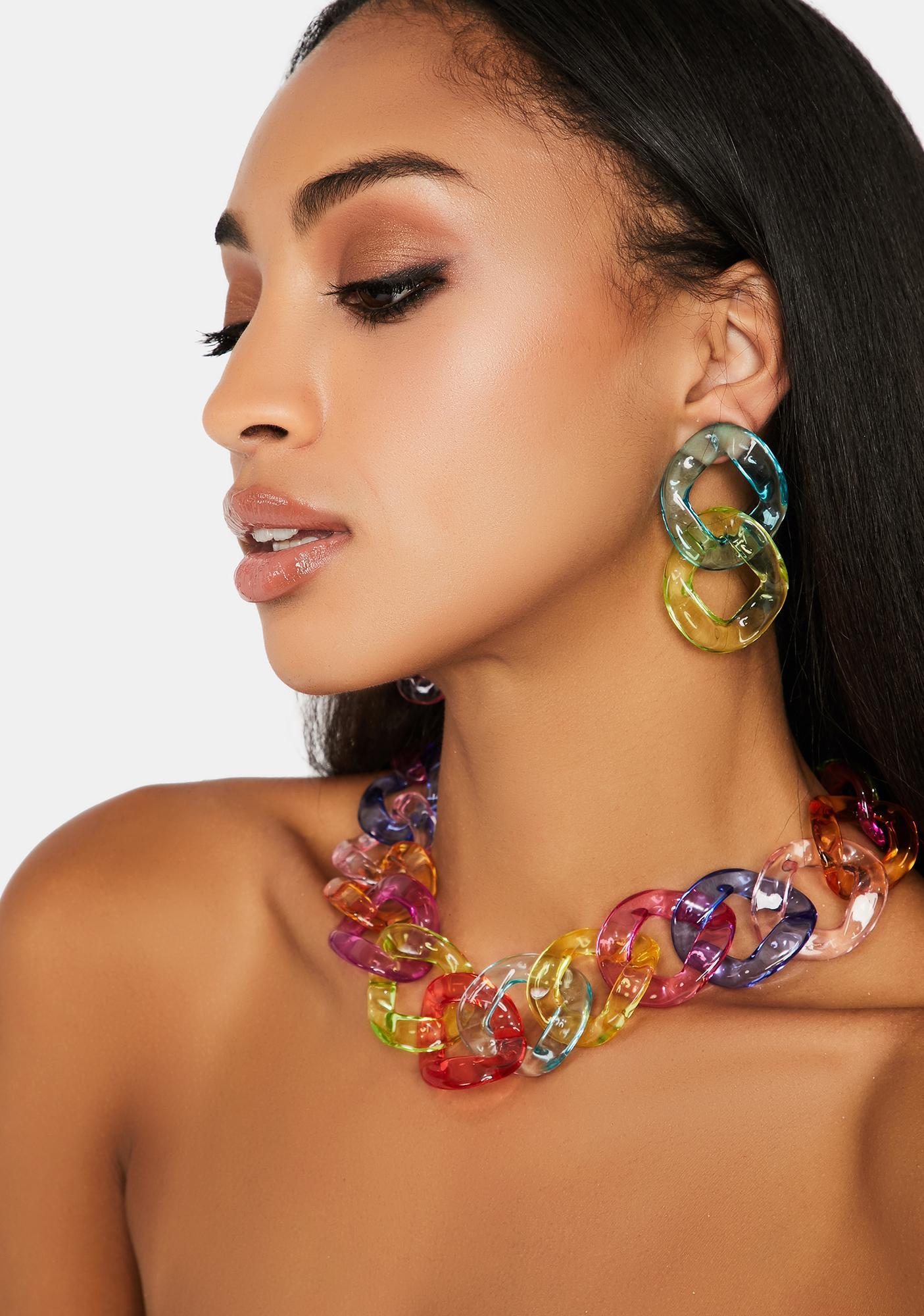 Prismatica Chain Earrings & Necklace Set