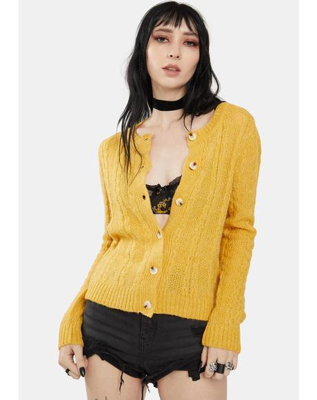 Honey Yellow Knit Cardigan
