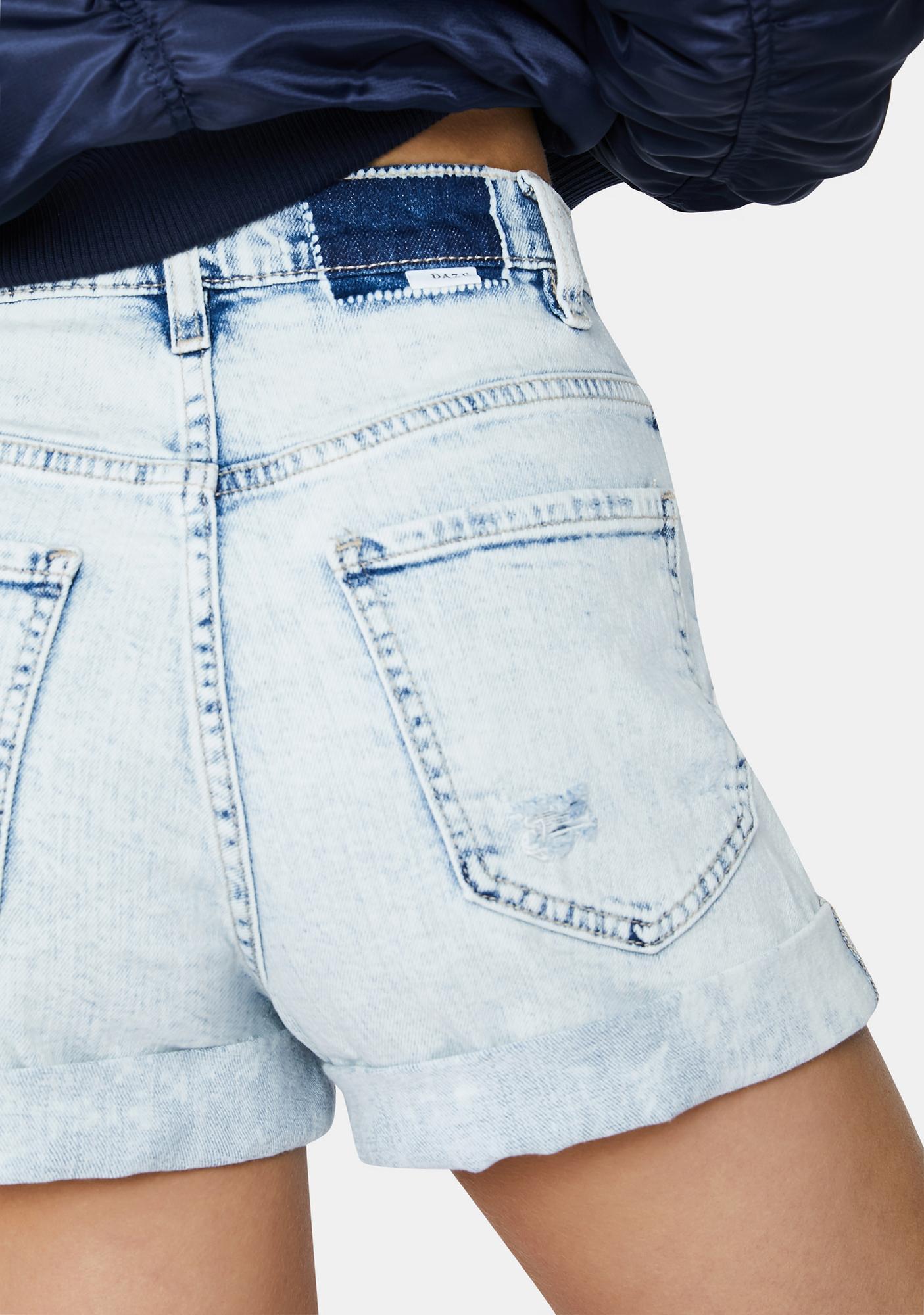 Daze Light Wash Dad's Girl Denim Mom Shorts