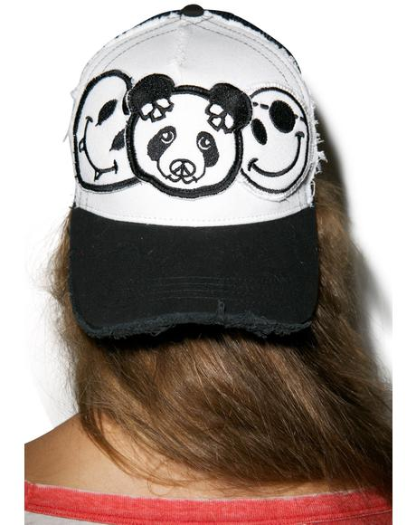 Jilly Skull Panda Patch Combo Trucker Hat