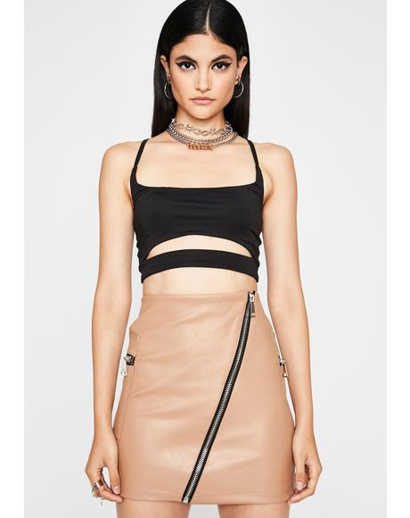Zip It Honey Mini Skirt