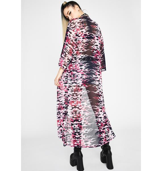 Pixie Hellish Prisms Mesh Kimono