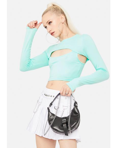 Mint Beginner's Luck Cutout Crop Top