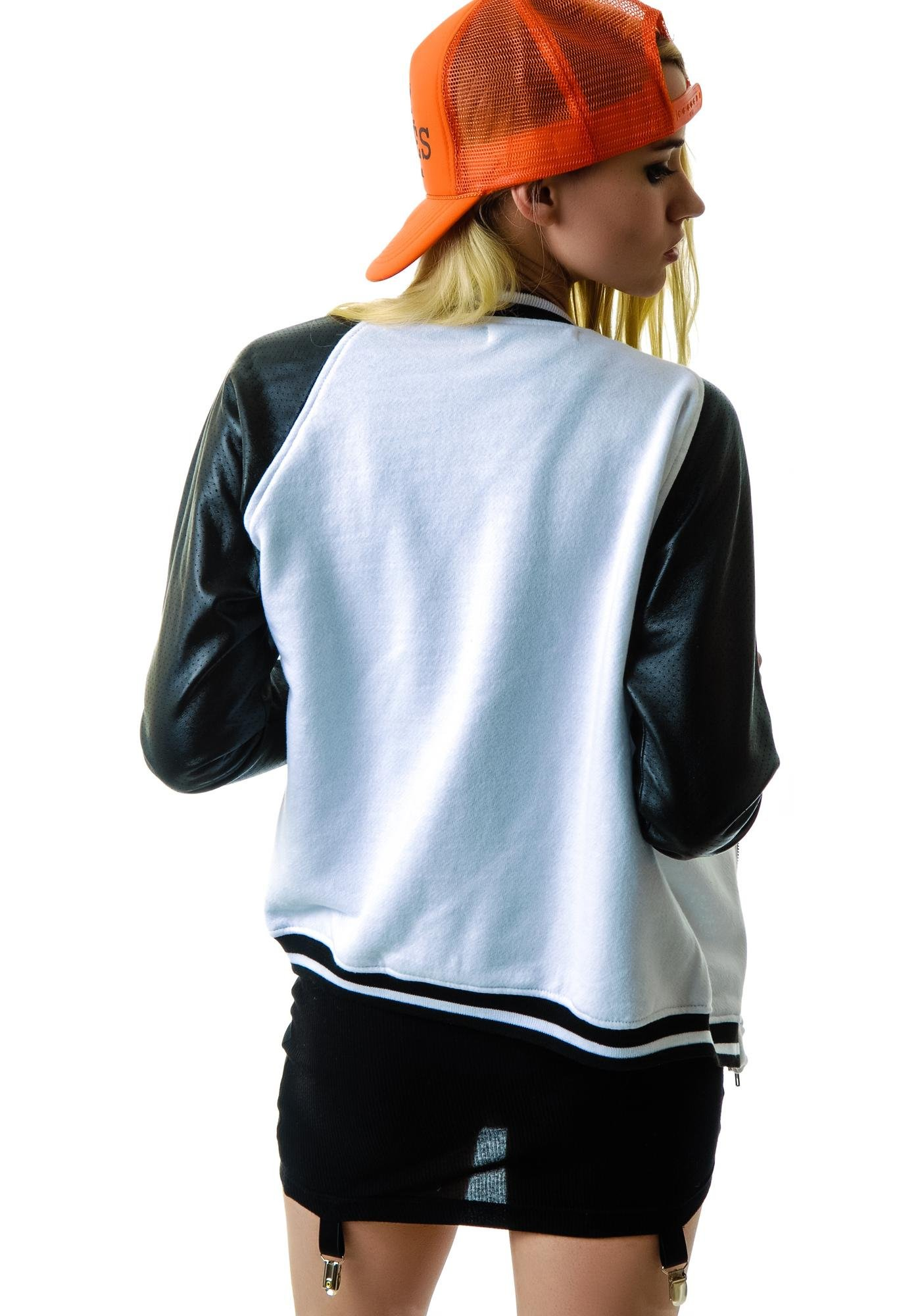 JET by John Eshaya Perforated Leather Baseball Jacket