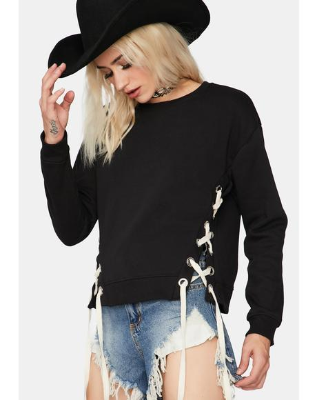 Give Or Take Lace-Up Sweater