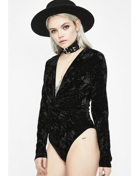Around That Track Velvet Bodysuit