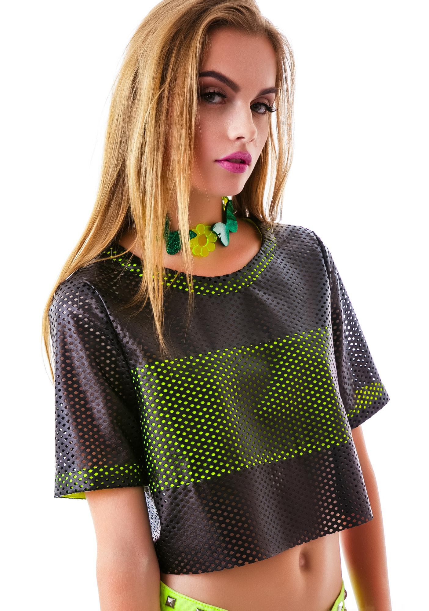 Mesh Race Leatherette Crop Top