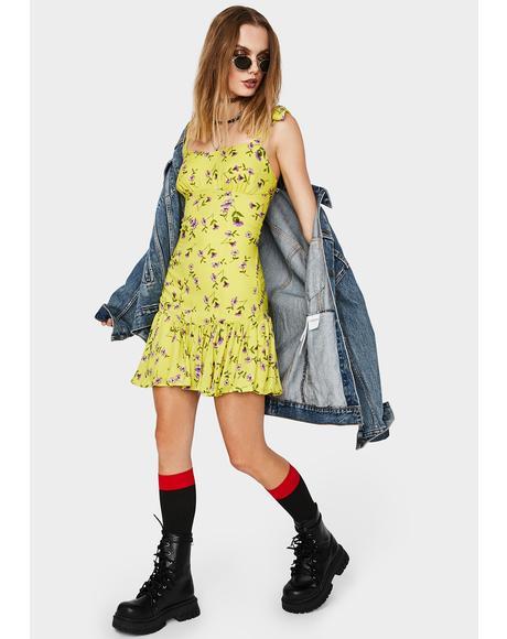 Lemon Summer Bloom Floral Dress