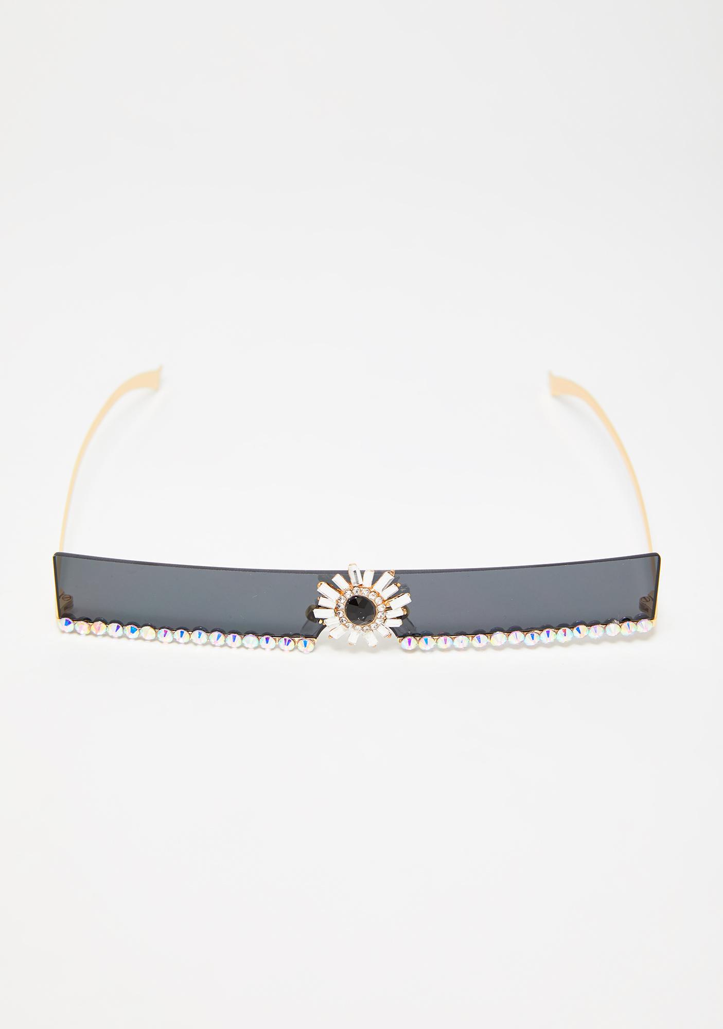 Onyx Shining Aura Rhinestone Sunglasses