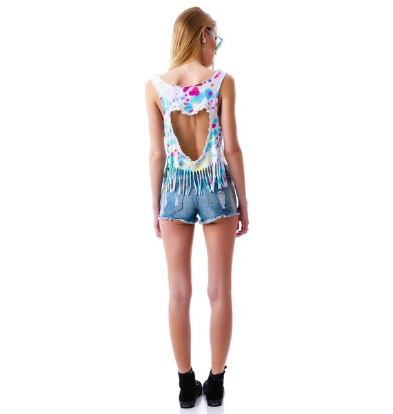 Dyeing Heart Cut Out Fringed Top