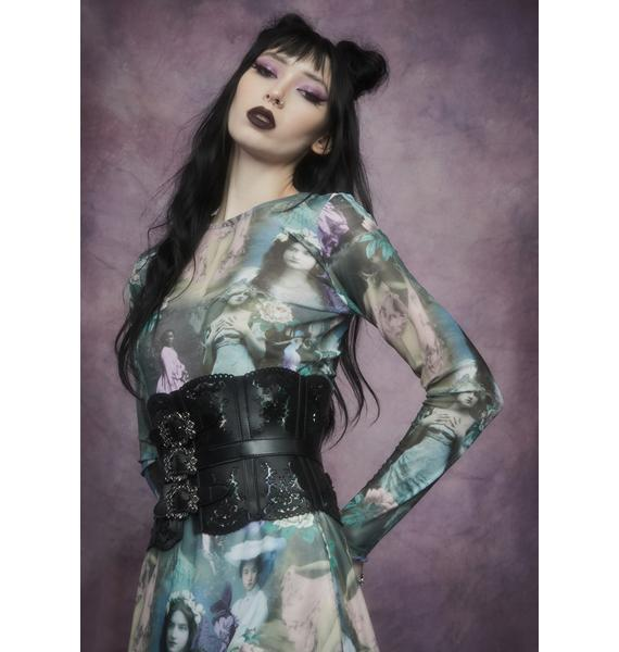Widow Ink And Feather Portrait Print Long Sleeve Top