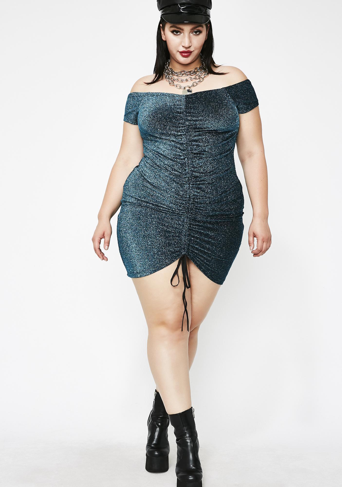 Aqua Sugar Sparkle Mini Dress
