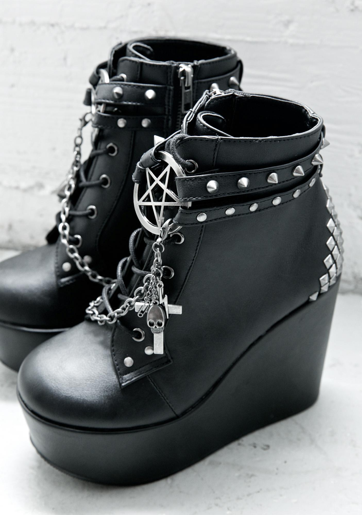 Demonia The Craft Studded Wedge Boot