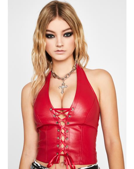 Scarlet Winning Title Lace-Up Halter