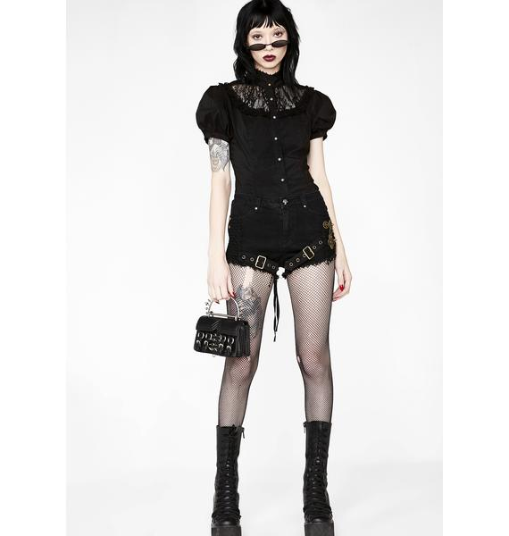 Punk Rave Steampunk Mesh Shorts
