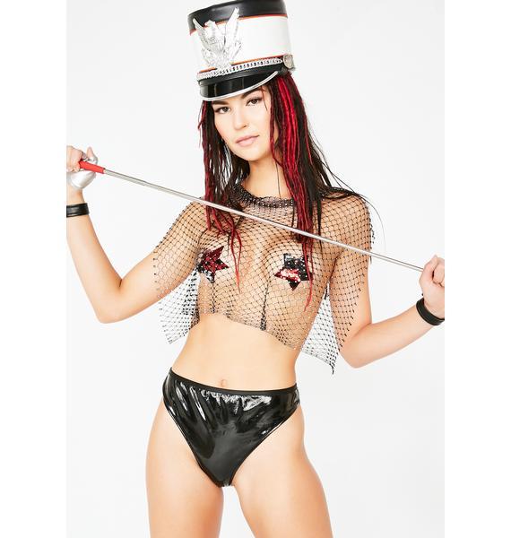 Kiki Riki Fire Starter Net Embellished Top