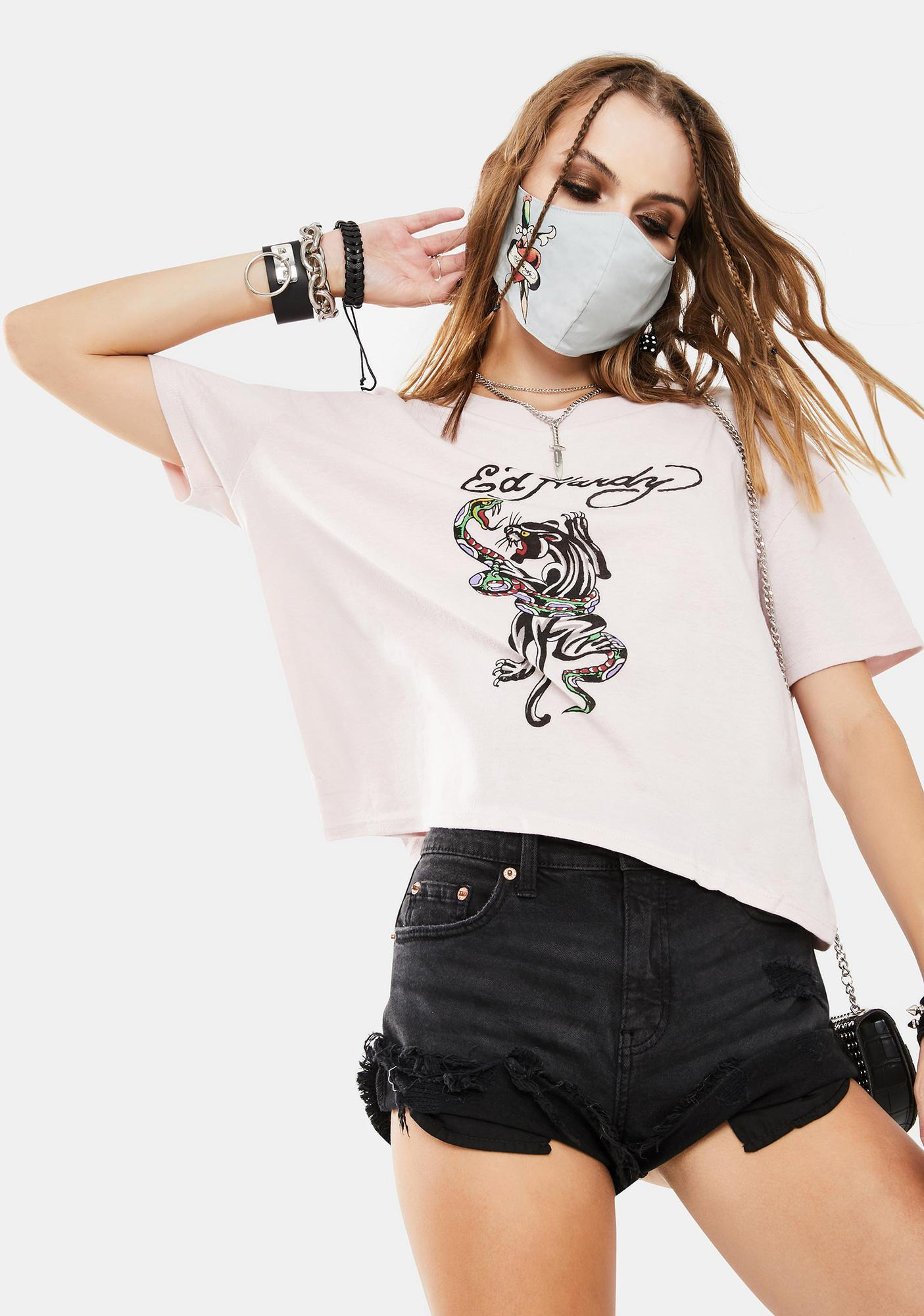 Ed Hardy Pink Snake Panther Graphic Tee