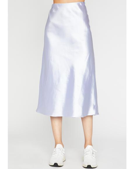 Slow Tide Satin Midi Skirt