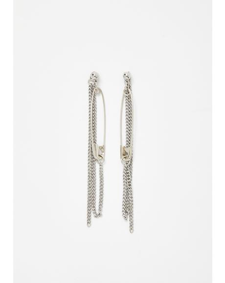 Sharp Savage Safety Pin Earrings