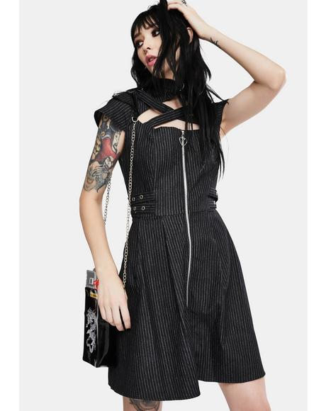 Manson Pinstripe Skater Dress