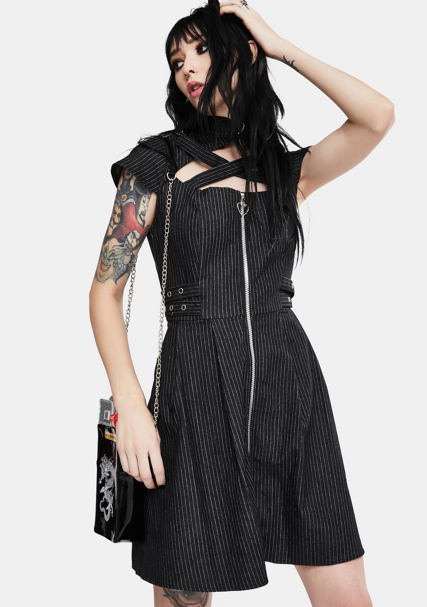 Jawbreaker Manson Pinstripe Skater Dress