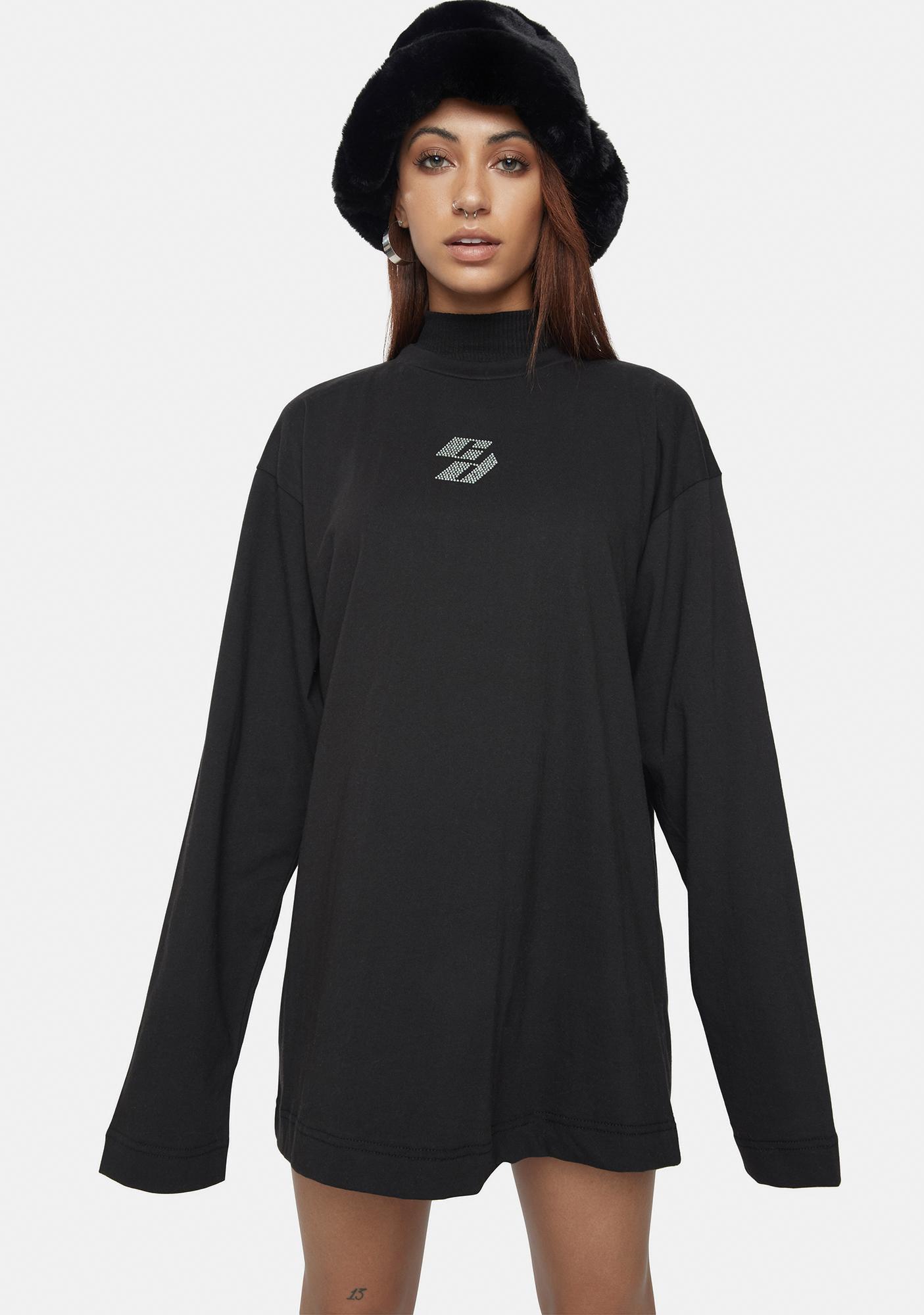 Criminal Damage T-Shirt Dress With Rhinestone Embellishment