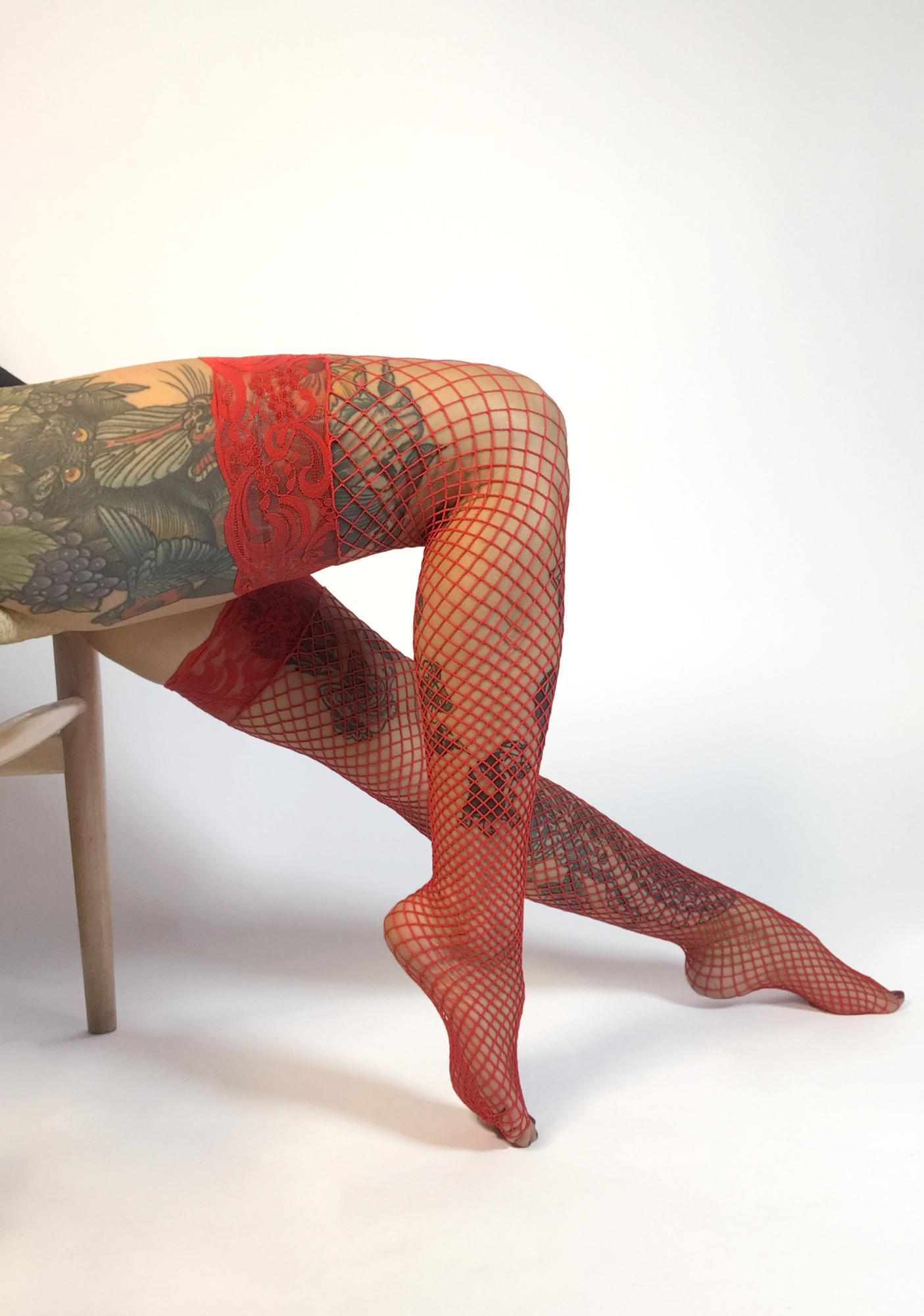 Cherry Being Bad Fishnet Thigh Highs