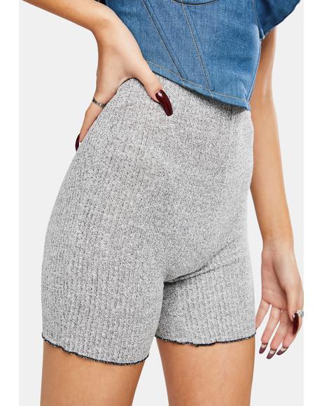 Grey Knit Biker Shorts