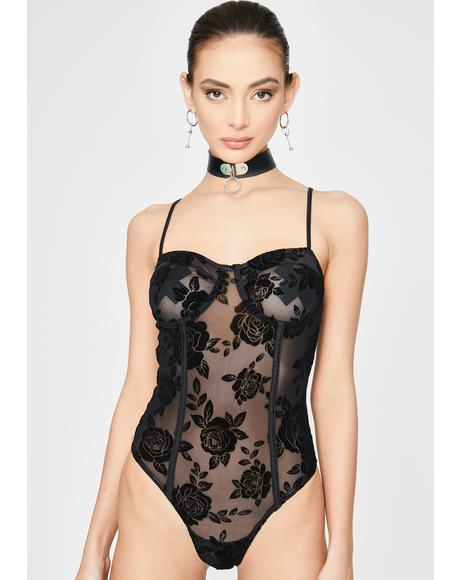 Black Rose Yecal Sheer Bodysuit