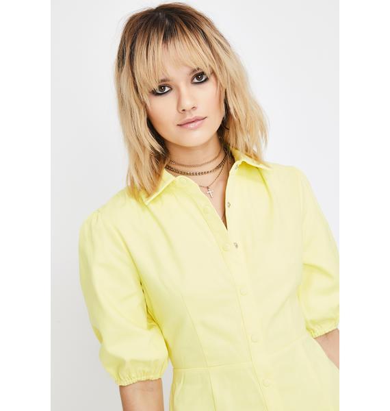 Glamorous Yellow Button Up Shirt Dress
