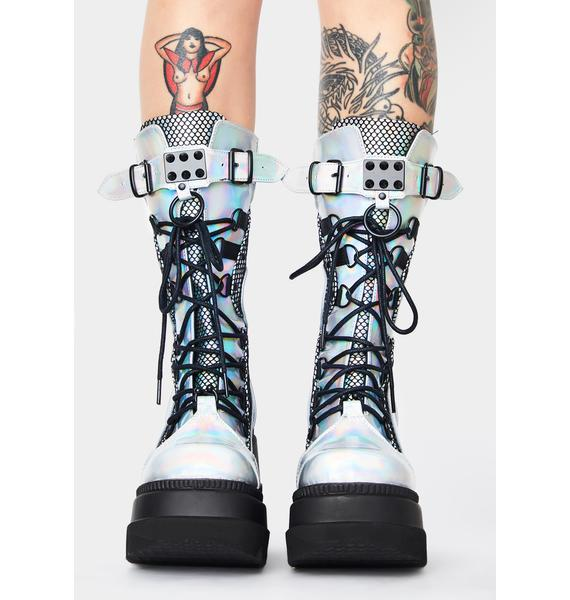 Demonia Holographic High Rise Shaker Boots