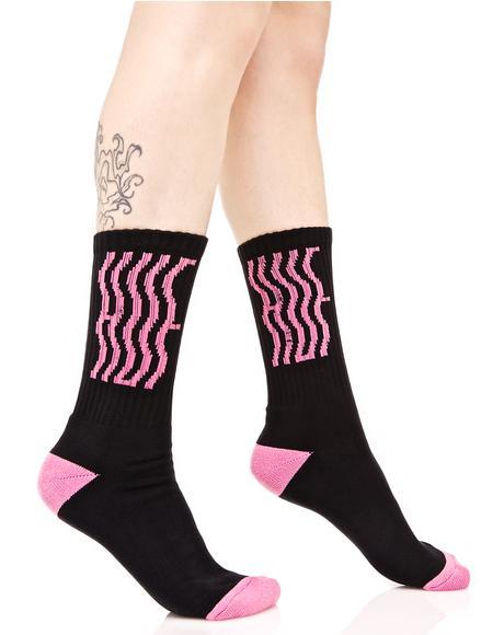 Wavy Crew Sock