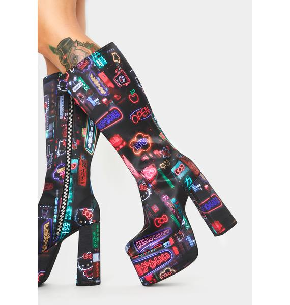Dolls Kill x Hello Kitty Pixel City Platform Boots