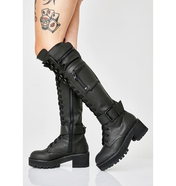 Current Mood Obsidian Pocket Combat Boots